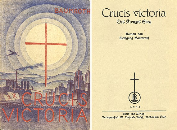 Obálka (1933) Hanse Foschuma ke Klimovu nábožensko-politickému románu, odehrávajícímu se po roce 2000 avydanému podle titulního listu českokrumlovským nakladatelstvím Ed. Bayands Nachf., B.-Krumau ČSR