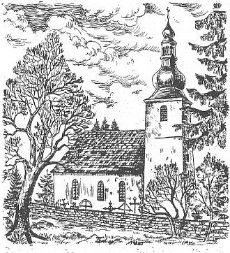 Kostel v Červeném Dřevě na grafice Waltera Grössla