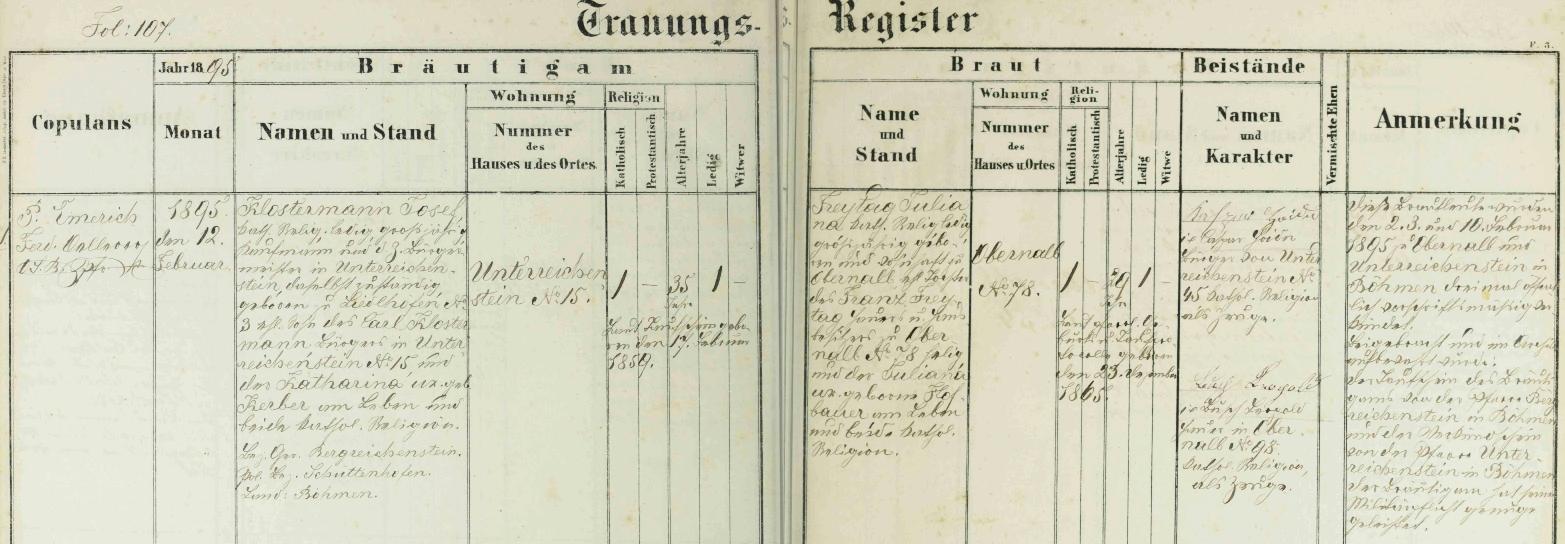 Záznam o svatbě děda z otcovy strany v oddací matrice dolnorakouské farní obce Obernalb