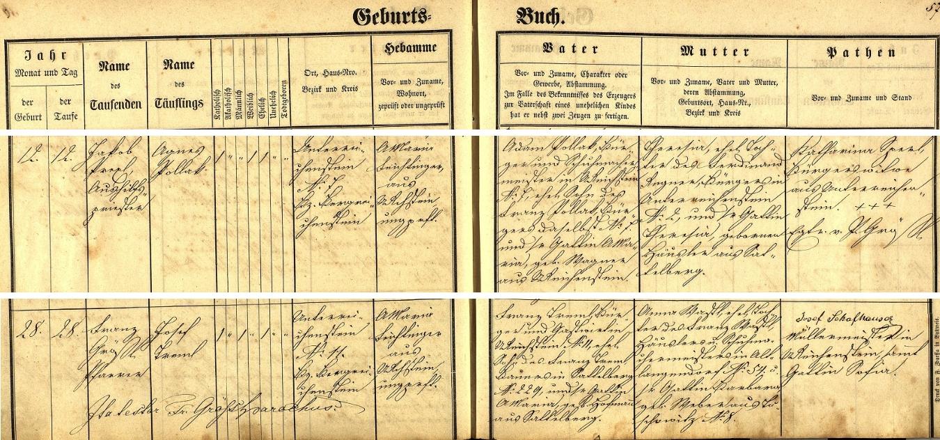 Tady se na jedné straně rejštejnské křestní matriky sešly záznamy o narození Agnes Pollakové a Josefa Tremla, pozdějších rodičů Heleny Tremlové, Karlovy matky