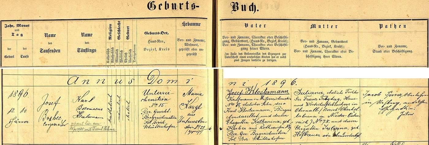 Záznam rejštejnské křestní matriky o narození otcově s pozdějším přípisem o jeho svatbě s Helenou Tremlovou v listopadu roku 1921