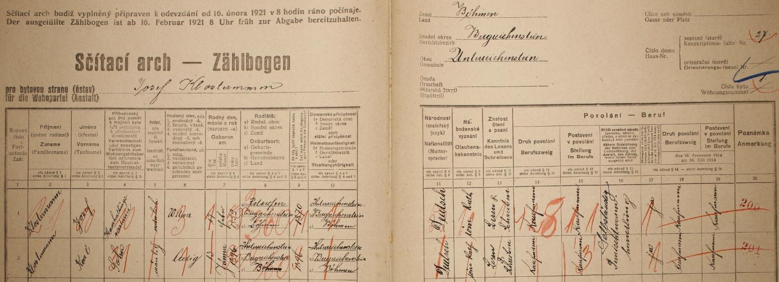 Arch sčítání lidu z roku 1921 pro dům čp. 27 v Rejštejně se zde bydlícím vdovcem Josefem Klostermannem a jeho synem Karlem