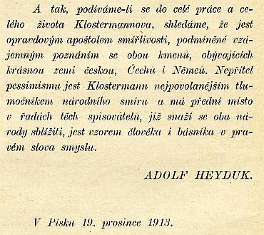 Citace z Adolfa Heyduka rok před první světovou válkou