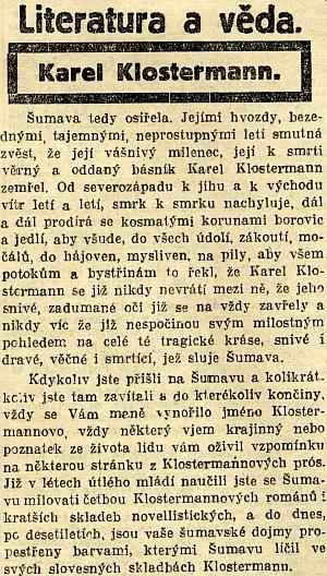 Úvod nekrologu v Národních listech...