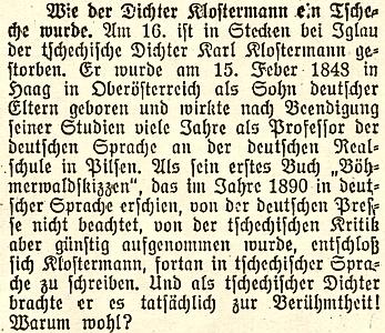 """... a jízlivá poznámka z Budweiser Zeitung, kde je jako místo úmrtí uvedena Štěkeň """"u Jihlavy"""" (!)"""