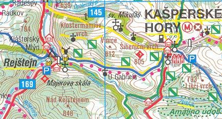 Tady vidíme kapli označenou na Klostermannově (Vysokém) vrchu severovýchodně od Rejštejna