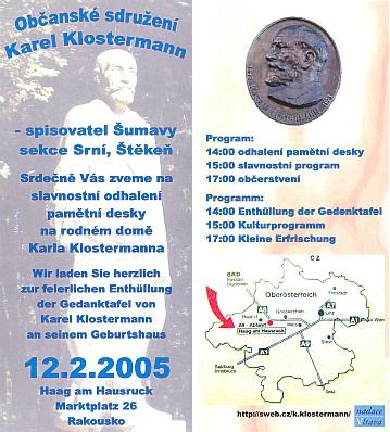 Program odhalení pamětní desky v rodném Haagu...