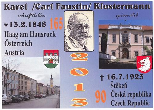 Pohlednice vydaná v jubilejním roce 2013 Institutem Karla Klostermanna ve Štěkni