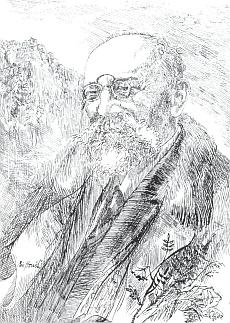Na perokresbě Miroslava Houště z roku 1988