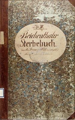"Desky ""reichentálské"" knihy mrtvých i se záznamem o skonu hajného Meindla"