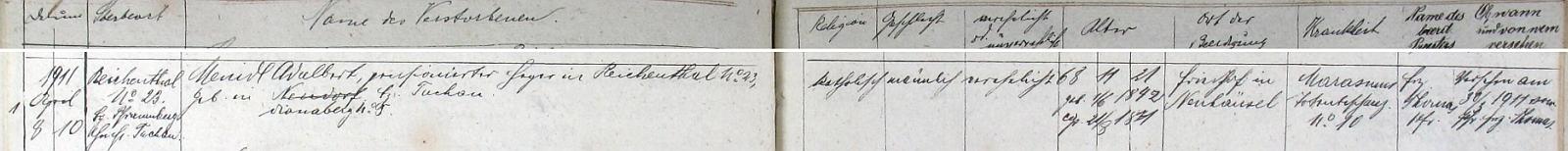 Záznam úmrtní matriky o skonu penzionovaného hajného Adalberta Meindla roku 1911