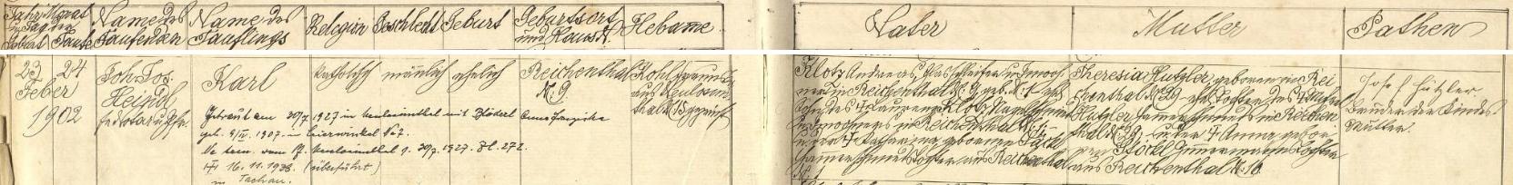 """Záznam křestní matriky o narození jeho otce Karla Klotze v """"Reichentálu"""" čp. 9 dne 23. února roku 1902"""