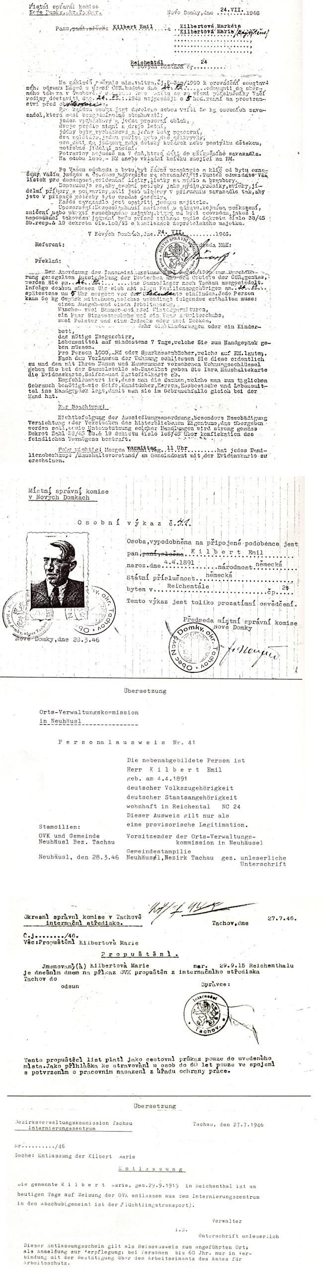 Otto Kilbert poskytl autorovi knihy o vyhnání z okresu Tachov tyto dokumenty otce Emila a sestry Marie