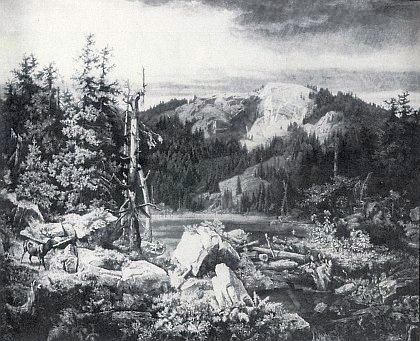 Plešné jezero na ocelorytině Karla B. Posta (1834-1877) z roku 1870 podle olejomalby Aloise Bubáka (1824-1870)...