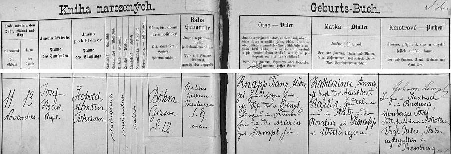 Záznam o jeho narození v České ulici čp. 12 Franzi Wenzelu Knappovi a jeho ženě Katharině, roz. Karlíkové, původem ze Stráže nad Nežárkou (babička z matčiny strany byla roz. Knappová z Třeboně)