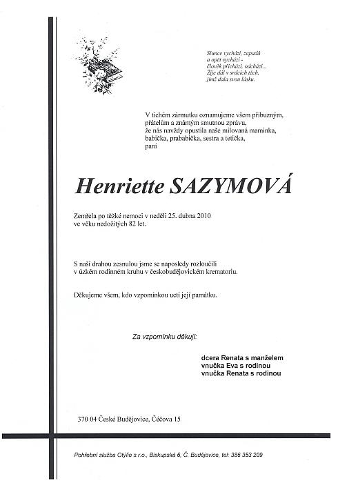Parte Renatiny maminky (a také babičky její dcery Renaty), vzácné paní Henriette Sazymové