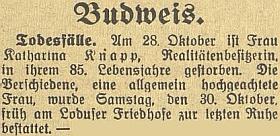 Zpráva o úmrtí jeho matky 28. října 1937, jak ji přinesl místní tisk