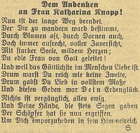 """K úmrtí matčině vyšla v  Budweiser Zeitung i tato báseň, označená šifrou """"S."""", označující zřejmě autorství synovo"""