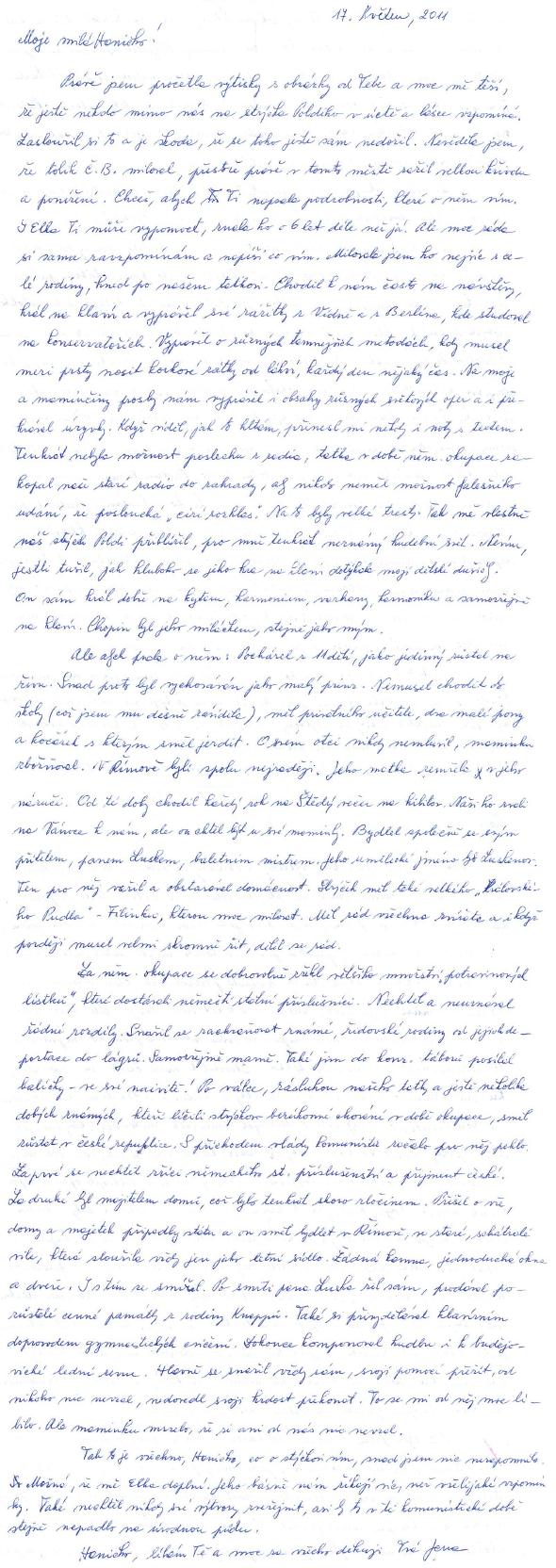 Dopis tety paní Kloučkové Jany Kus, žijící v rakouském Linci a na přání neteře, jejíž průvodní komentář otiskujeme rovněž, přibližující osobnost Leopolda Knappa