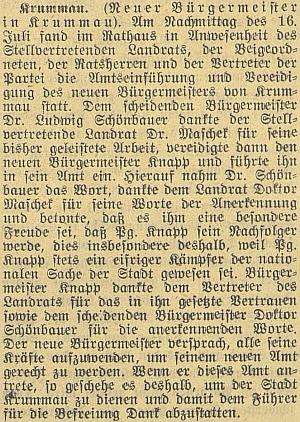 Zpráva českobudějovického německého listu o jeho přísaze při nástupu do funkce starosty Krumlova, jeho neplaceným zástupcem     sestalvroce1940 Ludwig Schönbauer - je tu opakovaně zmíněn iDr.Oskar Maschek