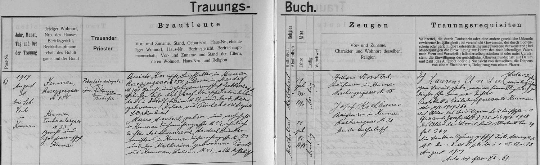 Záznam o jeho svatbě v českokrumlovské oddací matrice