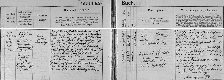 Záznam českokrumlovské oddací matriky o druhé svatbě otcově