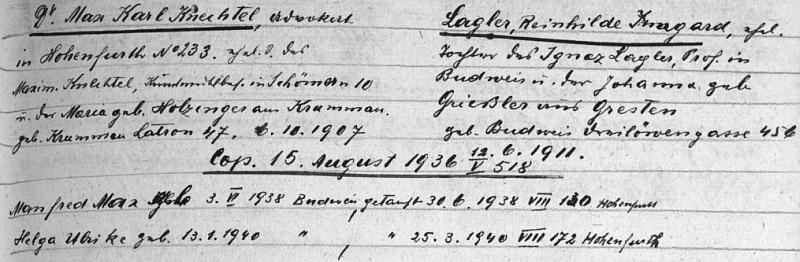 Záznam o rodině Dr. Maxe Karla Knechtela (syna Maxe Knechtela) ve vyšebrodském matričním indexu
