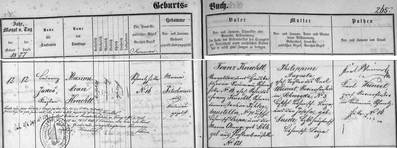 Záznam o narozemí Maxe Knechtela v českokrumlovské křestní matrice