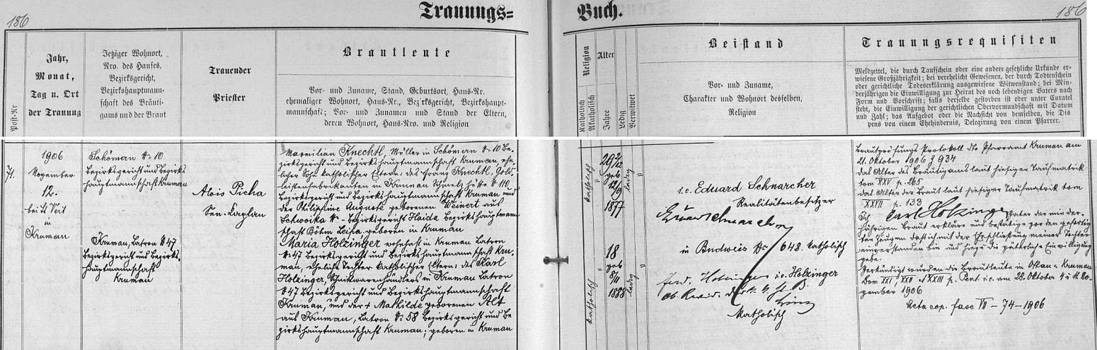Záznam o svatbě Maxe Knechtela s Marií Holzingerovou v českokrumlovské oddací matrice