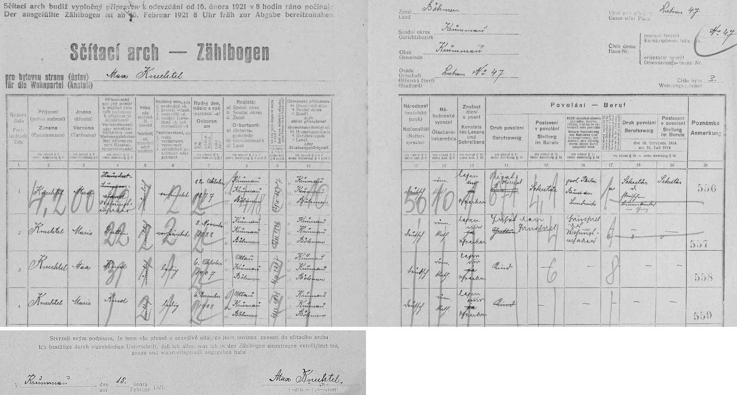 Arch sčítání lidu z roku 1921 pro dům čp. 47 na českokrumlovském Latráně s rodinou Maxe Knechtela