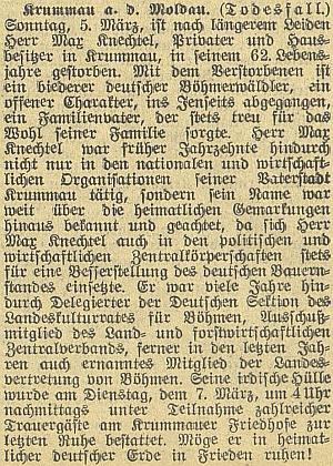 Nekrolog Maxe Knechtela v českobudějovickém německém listu