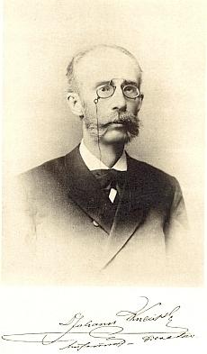 Podobizna a nekrolog JUDr. Johanna Kneissla mladšího (1842-1895), zakladatele městského muzea vČeských Budějovicích