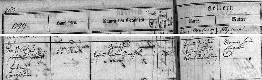 Na straně 263 českobudějovické matriky je uvedeno jeho narození 11. října roku 1799 nikoli pod příjmením Kneissl, nýbrž Gneissel, a to u otce i syna