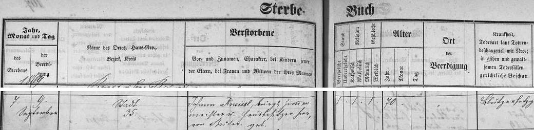 """Podle českobudějovické """"Sterbe-Buch"""" zemřel 9. září 1869 a byl pochován 2 dny nato"""
