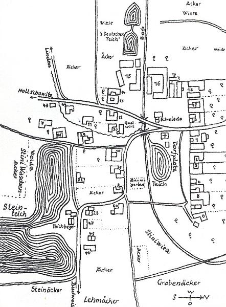 Plánek vsi Záboří s velkým Kamenným rybníkem (Steinteich) poblíž a pomístními německými jmény okolních polností