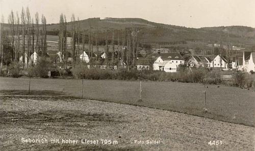 Záboří s jedním z vrcholů Blanského lesa Skalkou (687 m n.m.) na snímku z fotoateliéru Seidel - ovšem s chybnou popiskou, že v pozadí je vidět Vysoká Běta