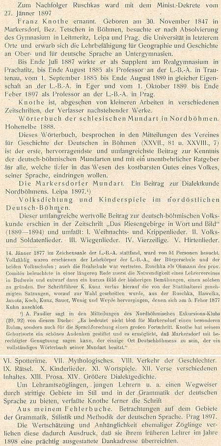 O něm ve výroční zprávě německého učitelského ústavu v Českých Budějovicích z roku 1907