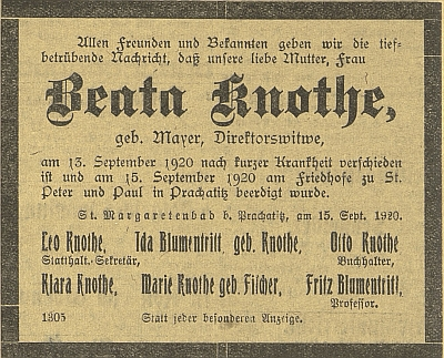 Parte jeho manželky - jejich dcerou byla i manželka Friedricha Blumentritta Ida, roz. Knotheová