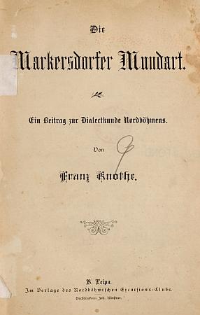 Titulní list jeho práce o nářečí rodné obce (1895)