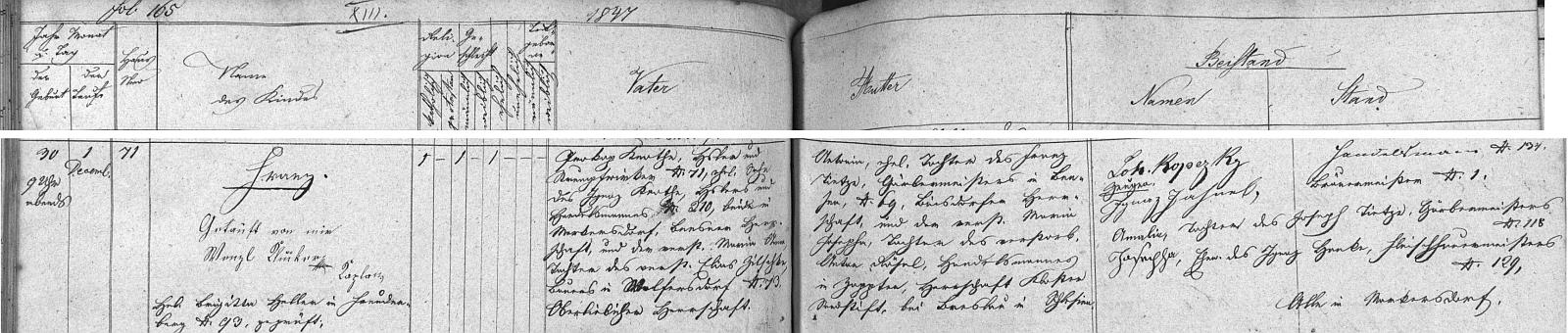 Záznam o jeho narození v křestní matrice matrice farní obce Markvartice