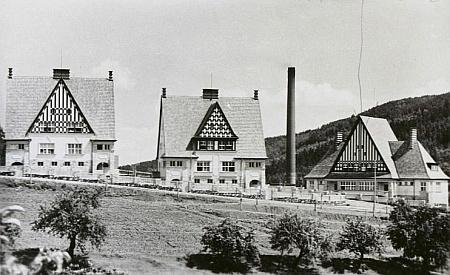 """Domy zvané """"Schimmihäuser"""" při papírně Pečkovský mlýn - na další Seidelově pohlednici z třicátých let jsou domy vidět vpravo"""