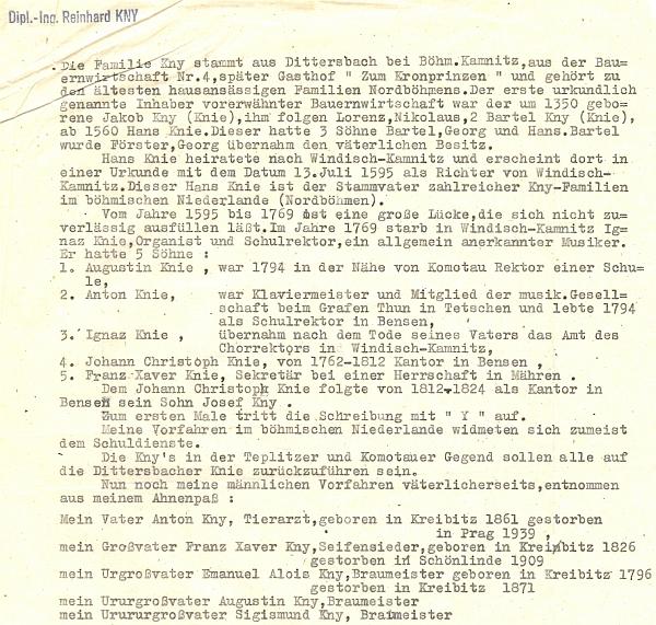 Otcův záznam, označený jeho razítkem, zachycuje ve zkratce historii severočeského rodu Knyů (Knieů)