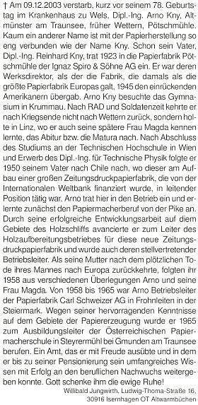 Nekrolog v krajanském časopise Glaube und Heimat napsal Willibald Jungwirth,...