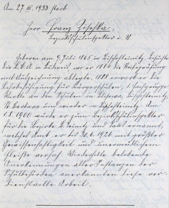 Nekrolog jejího otce na stránkách kroniky německé chlapecké školy v Ronšperku (dnes Poběžovice)