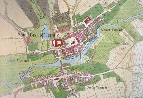 Horšovský Týn na výřezu císařského otisku mapy stabilního katastru z prvé poloviny devatenáctého století