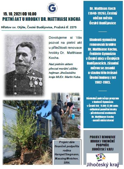 Pozvánka na pietní akt u jeho hrobu na českobudějovickém hřbitově, o jehož obnovu se mj. zasloužily i rodina Hampelova a Stegmannova zeSpolkové republiky Německo...