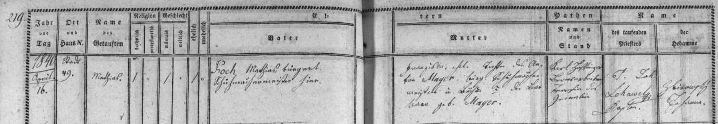Záznam o jeho narození a křtu v českobudějovické matrice