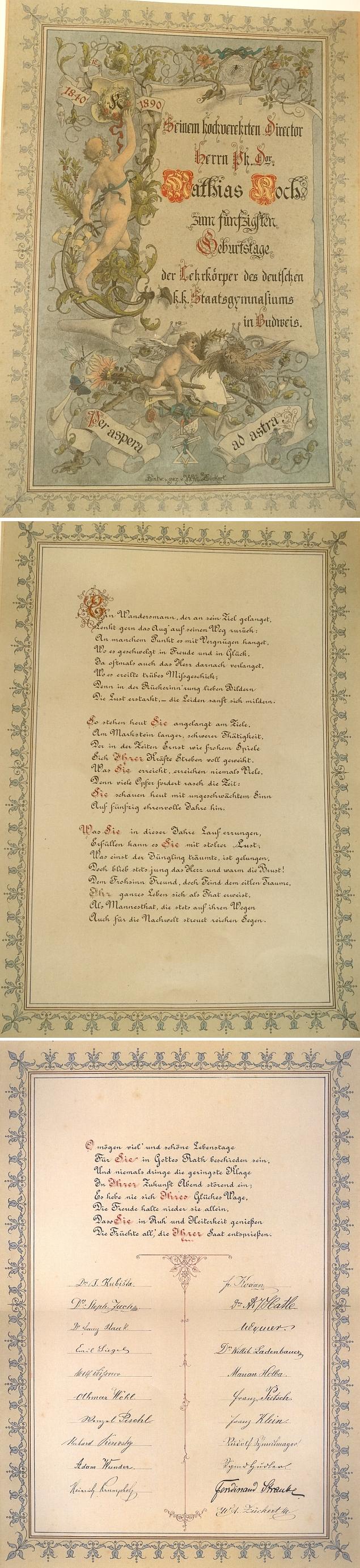 Pozdrav k jeho padesátinám s podpisy členů učitelského sboru německého gymnázia v Českých Budějovicích
