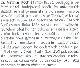 Text o něm z knihy českobudějovického archiváře Daniela Kováře