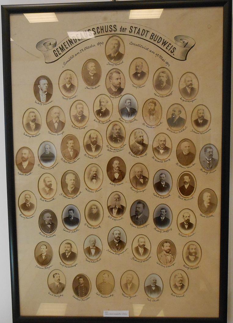 Mezi členy českobudějovické městské rady v roce 1891 (druhá řada shora, třetí zprava)